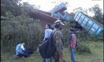 Naxals damage railway line, 14 wagons of goods train derailed
