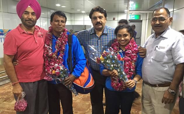 Dipa Karmakar after returning home (Image source: Twitter)