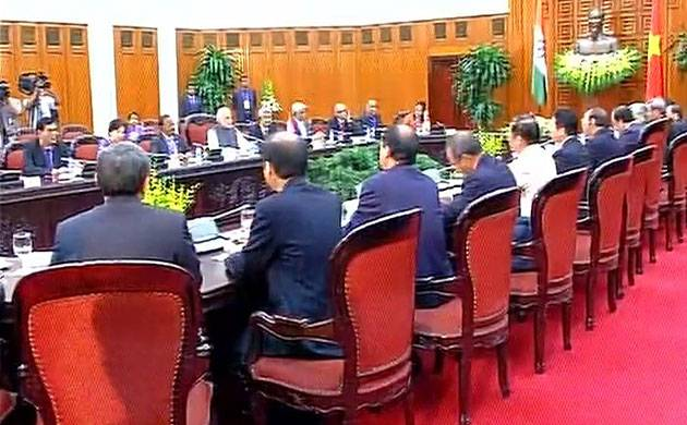 Delegation level talks between India and Vietnam underway in Hanoi (Image: Twitter/ANI)