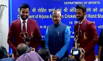 Sports Minister Vijay Goel honours Ajinkya Rahane, Rohit Sharma with Arjuna Awards