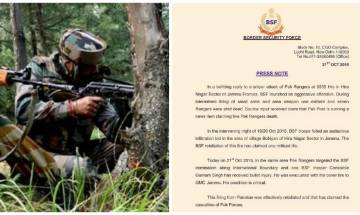 BSF says 7 Pakistani Rangers killed after an infiltration bid foiled in Kathua; Pakistan denies claims