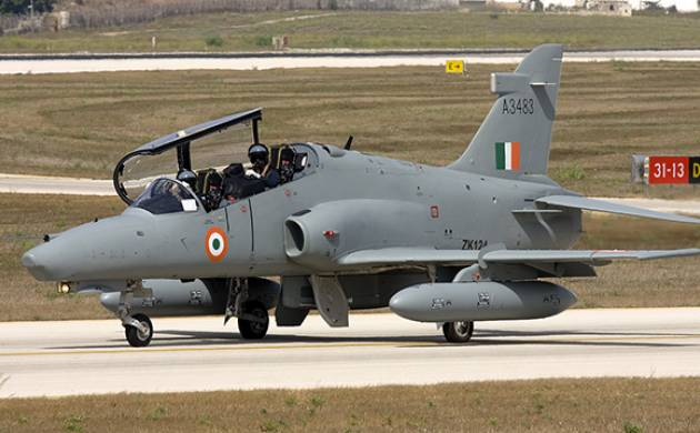 A stock photo of Indian air force's training aircraft Hawk