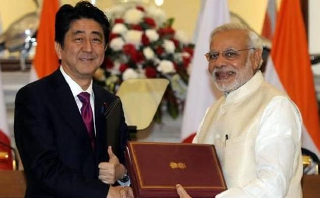Indian PM Narendra Modi with Japan's Prime Minister Shinzo Abe - File Photo