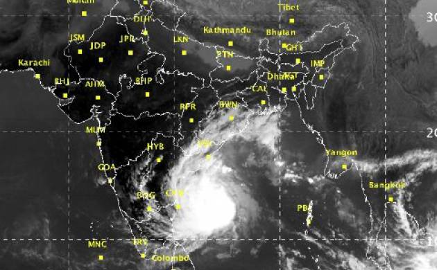 Cyclone Vardah Satellite pic at 1330h on Saturday afternoon (Image: @SpokespersonMoD)