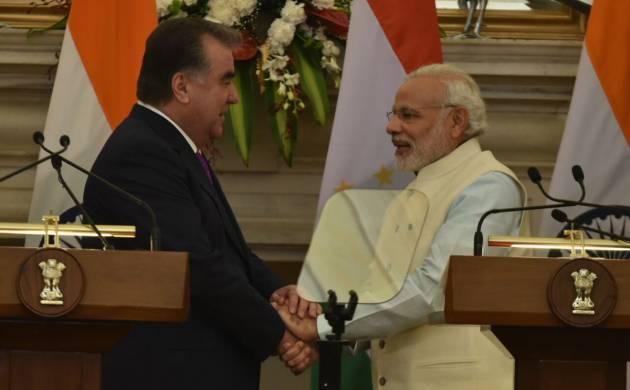 Tajik President Emomali Rahmon and PM Narendra Modi (Image: @MEAIndia)