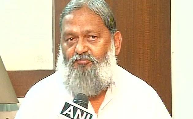 Haryana minister Anil Vij interacts with journalists in Chandigarh. (Image: ANI)
