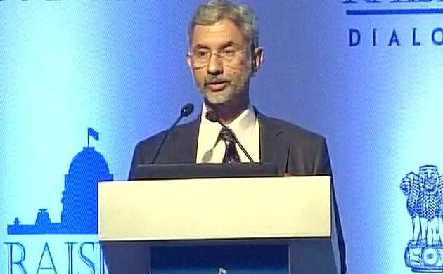 Foreign secretary S Jaishankar addresses the Raisina Dialogue event in Delhi.