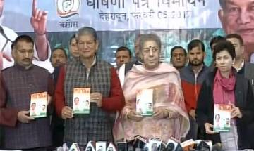 Uttarakhand polls: Congress releases manifesto in presence of CM Harish Rawat