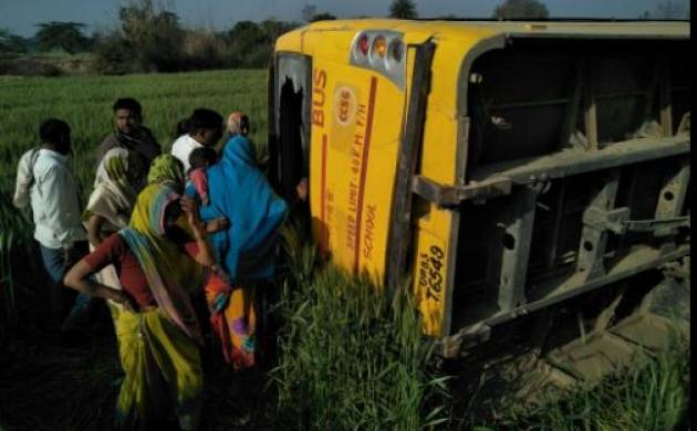 School bus with 40 students overturns in Uttar Pradesh's Etah, more than 10 injured (Image