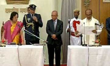 N Biren Singh takes oath as Chief Minister of Manipur in Imphal; BJP president Amit Shah extends wishes