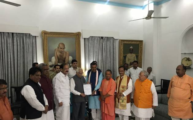 Yogi Adityanath meets UP Guv to stake claim at UP Govt; to be sworn in as CM on Sunday (NN Image)