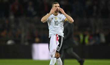 German football legend Lukas Podolski bids adieu to international soccer with thunderbolt strike to defeat England