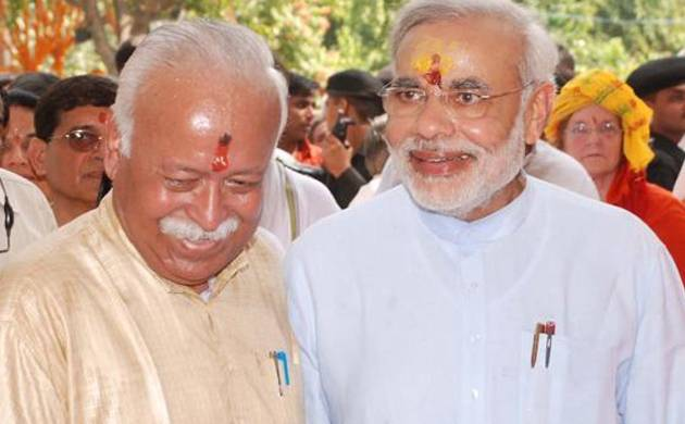 RSS chief Mohan Bhagwat and PM Narendra Modi (File photo: PTI)