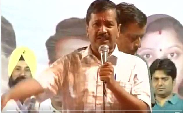 Delhi chief minister Arvind Kejriwal addresses a rally in Delhi. (ANI/Twitter)