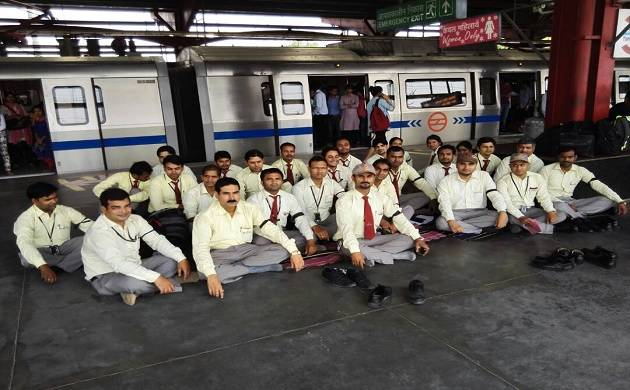 DMRC employees protesting at Yamuna Bank metro station