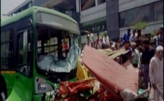 Delhi: Two killed, 5 injured as DTC bus crashes into auto, e-rickshaw in Azadpur (Source-ANI)