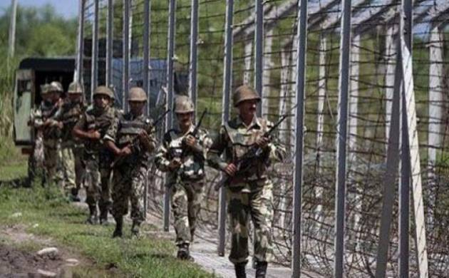 Security personnel patrol a stretch of the Line of Control at the International Border between India and Pakistan. (File Photo)