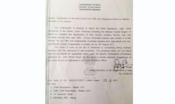 Linking Aadhar with property registration compulsory: Fake order goes viral; FIR registered