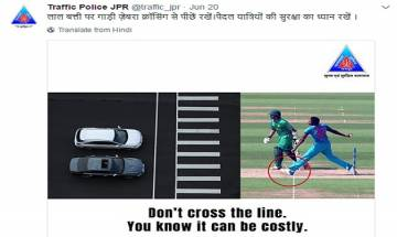 Don't cross the line: Jaipur Police uses Bumrah's 'no ball' in Champions Trophy final in advertisement for traffic awareness