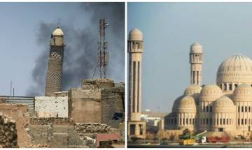 Islamic State blows up Mosul's iconic Al-Hadba minaret and Nuri mosque where Baghdadi declared himself 'caliph'