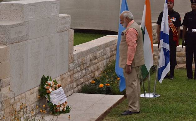 PM Modi pays homage to Indian World War I heroes in Haifa (Pic: PMO/Twitter)