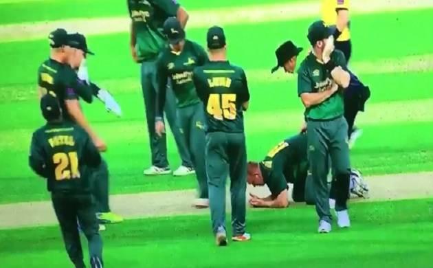 Watch: Luke Fletcher smashed on head during Natwest T20 Blast game, hospitalised