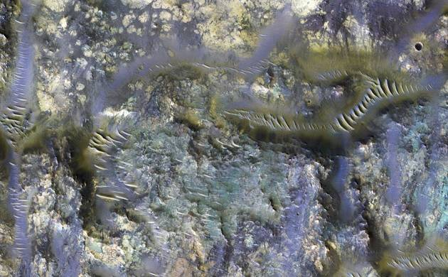 Technicolor worms on red planet? NASA reveals bizarre images of Mars crater