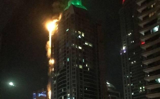 Dubai torch tower caught fire