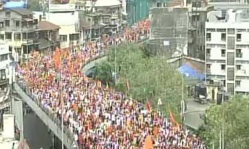 Thousands of Maratha people take out massive march to press for reservation in jobs, education in Mumbai
