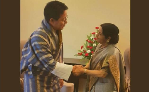 Amid Doklam standoff, Shushma Swaraj meets Bhutanese Foreign Minister Damcho Dorji (EAM India Twitter handle)