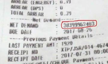 Jamshedpur man slapped with Rs 38 million electricity bill
