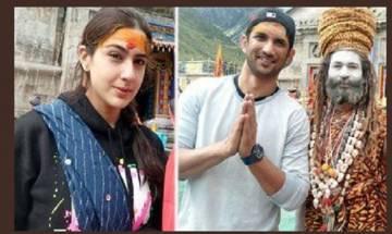 Sara Ali Khan, Sushant Singh Rajput visit Kedarnath temple, seek blessing for their next