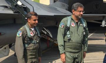 Pakistani PM Shahid Khaqan Abbasi takes joyride in F-16 fighter jet