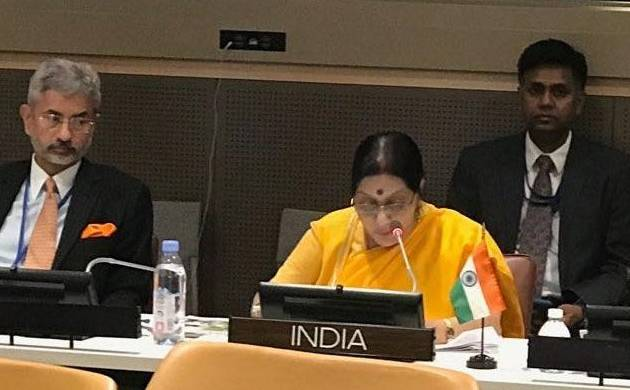 External Affairs Minister Sushma Swaraj addressed a trilateral meeting of India, Brazil and South Africa on Thursday (ANI Image)