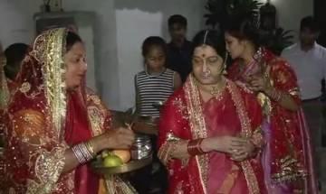 Sushma Swaraj celebrates Karwa Chauth with traditional fervour