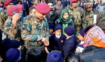 Srinagar: MS Dhoni makes surprise visit to Army Public School; tells students to balance sports and studies
