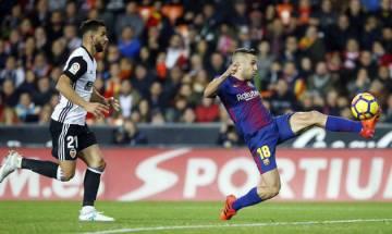 Barcelona draw La Liga encounter with Valencia after Jordi Alba's late equaliser