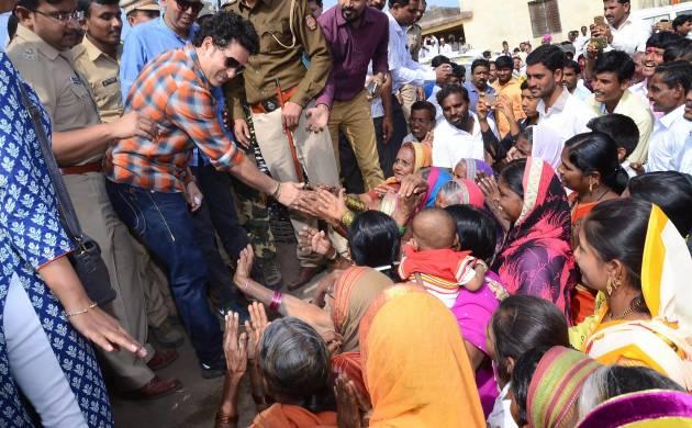 Tendulkar visits his adopted village Donja in Marathwada (Image: PTI)