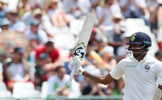 Hardik Pandya of India celebtrates his half century during day two of the first Test match between South Africa and India at the Newlands Cricket Ground in Cape Town, South Africa on Jan 6, 2018. (Photo: IANS)