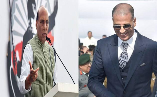'PadMan star Akshay Kumar and Union Home Minister Rajnath Singh grace Bharat Ke Veer' anthem (Source-PTI)