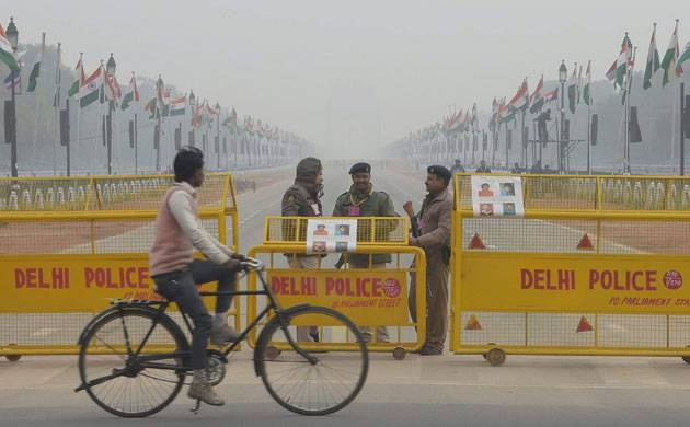 Barricades were erected on all major roads leading to the parade venue with policemen checking vehicles and informing people about diversions.