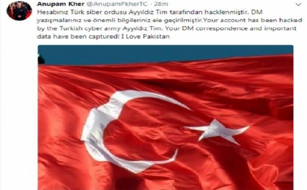 Turkish hackers hack Twitter handles of Anupam Kher, Ram Madhav; tweet 'I love Pakistan' (Source: Twitter)
