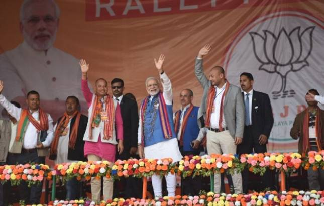 PM Modi in Meghalaya Live updates | Ruling government recognised for scam in teachers recruitment: PM Narendra Modi (Photo Source: BJP Twitter handle)