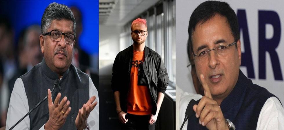 Left To right - Union Law Minister Ravi Shankar Prasad, Christoper Wylie, Congress spokesperson Randeep Surjewala