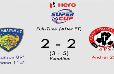 Aizawl FC stun ISL Champions Chennaiyin FC in Super Cup, win 5-3 in penalites