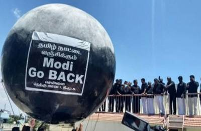 Cauvery protest: Black flags, balloons welcome PM Narendra Modi at Chennai airport
