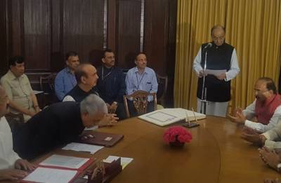 Finance Minister Arun Jaitley takes oath as Rajya Sabha MP