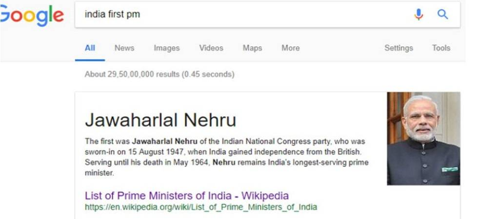 Google shows Narendra Modi's picture as 'India's first PM' (Photo Source: Twitter)