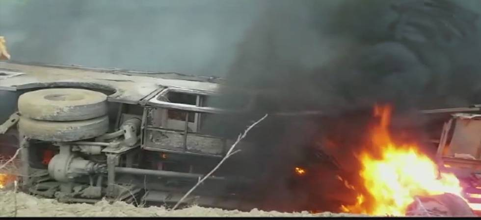 A total of 27 on Thursday died after bus overturned and caught fire in Motihari district of Bihar (Source: ANI Twitter)