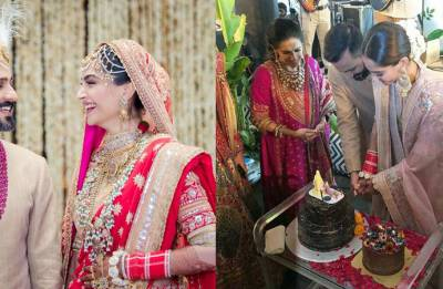 Highlights: Sonam Kapoor, Anand Ahuja cut their wedding cake